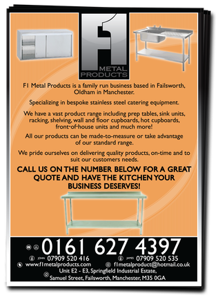 F1 Metal Products Leaflets